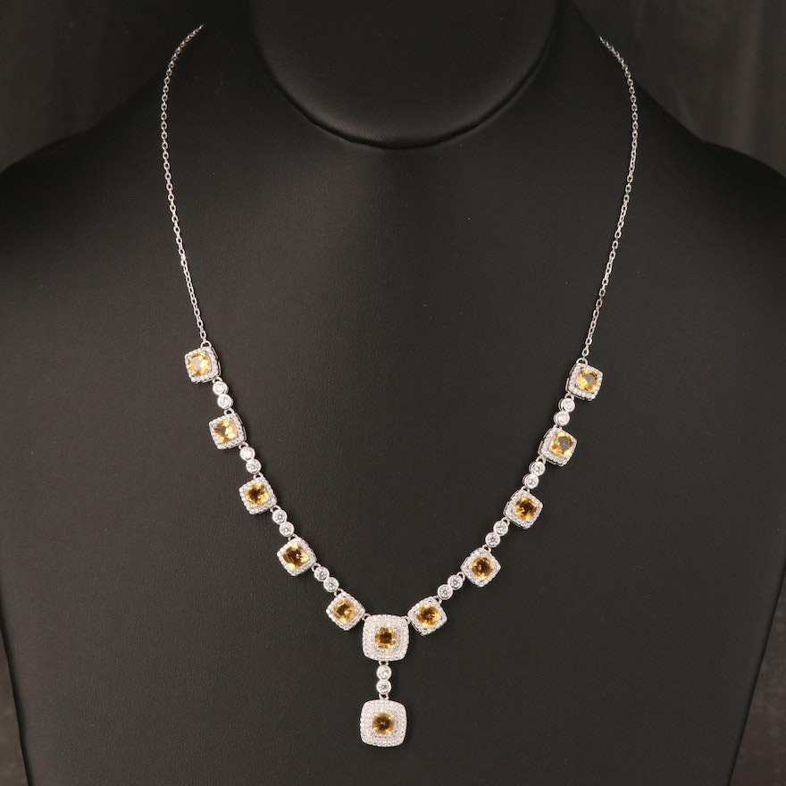 Sterling Citrine and Cubic Zirconia Princess Necklace
