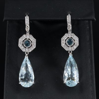 14K and 18K 16.71 CTW Aquamarine, Sapphire and Diamond Pendant Earrings