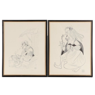 Caricature Lithographs After Al Hirschfeld, Late 20th Century