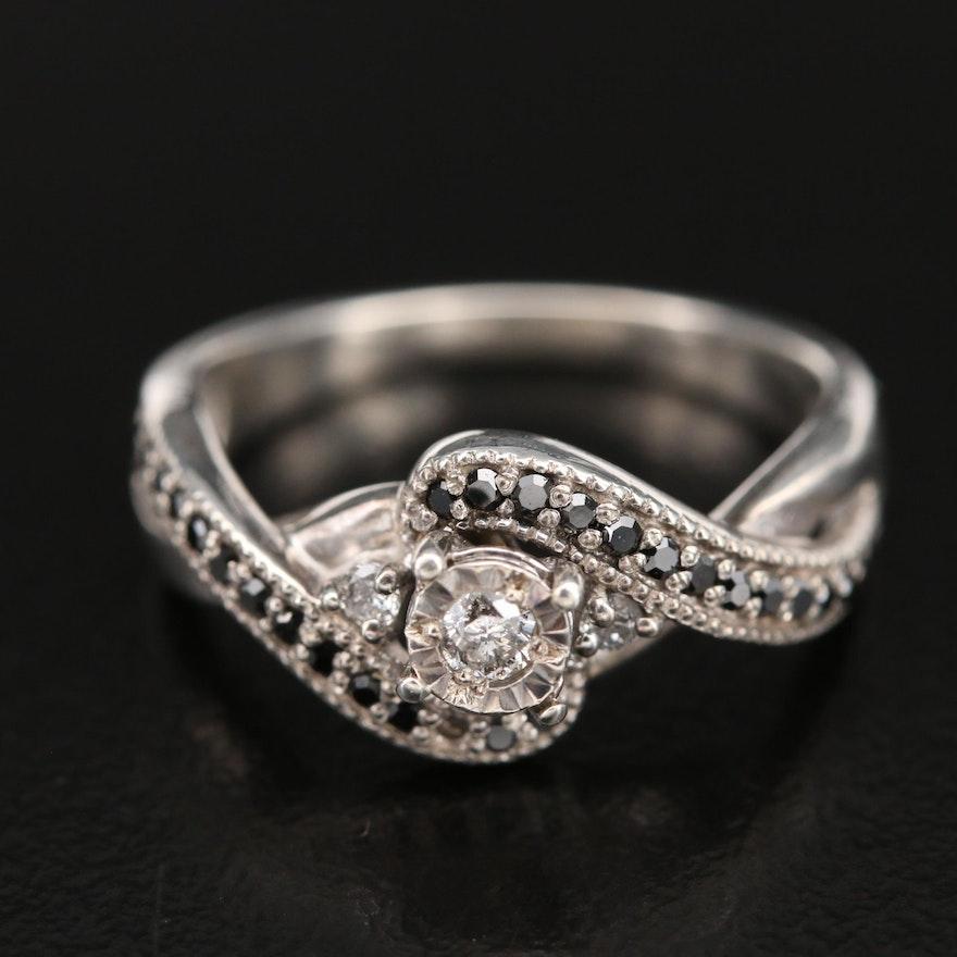 Sterling Diamond Illusion Set Twist Ring