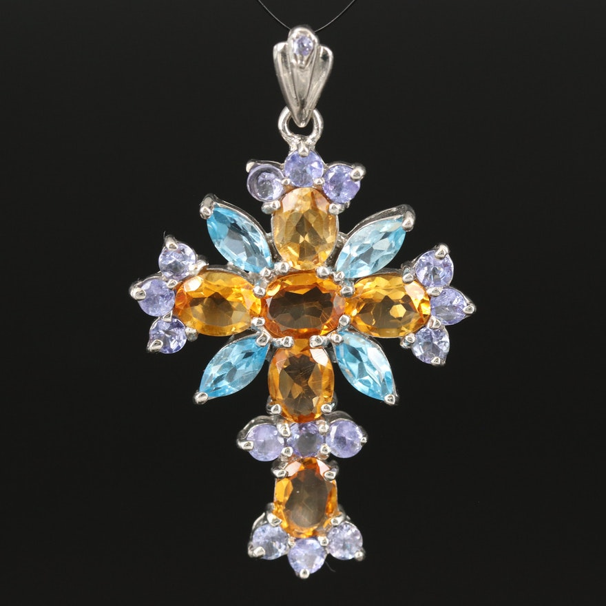 Sterling Cross Pendant with Citrine, Topaz and Tanzanite