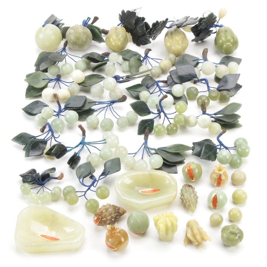 Chinese Carved Serpentine and Agate Grapes and Other Fruits