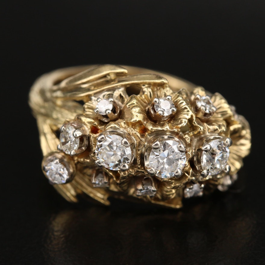 18K 0.82 CTW Diamond Gladiolus Ring