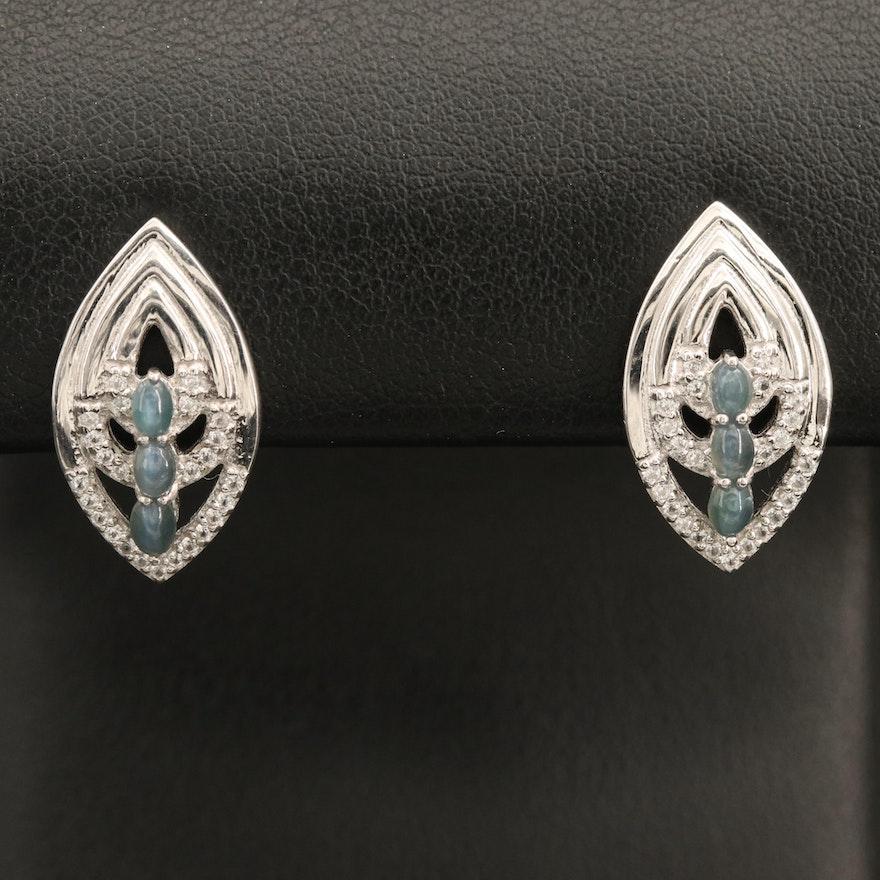 Sterling Cat's Eye Alexandrite and Zircon Earrings