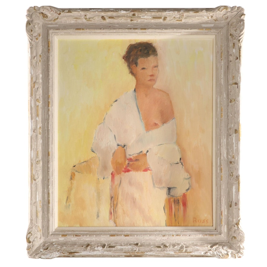 Leighton Ross Oil Painting of Seated Figure, 1958