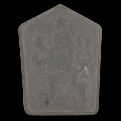 Frosted Glass Rampant Lion Plaque
