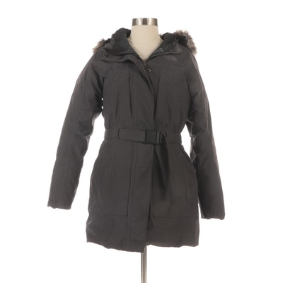 The North Face Belted Down-Filled Hooded Anorak with Faux Fur Trim