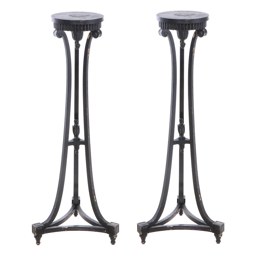 Pair of Louis XVI Style Painted Wood Torchere/Plant Stands