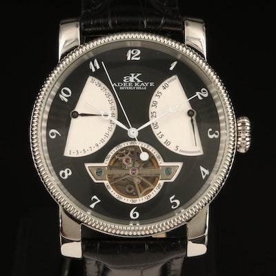 Adee Kaye Open Heart Retrograde Stainless Steel Automatic Wristwatch