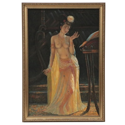 Orientalist Style Oil Painting of Dancer, Circa 2000