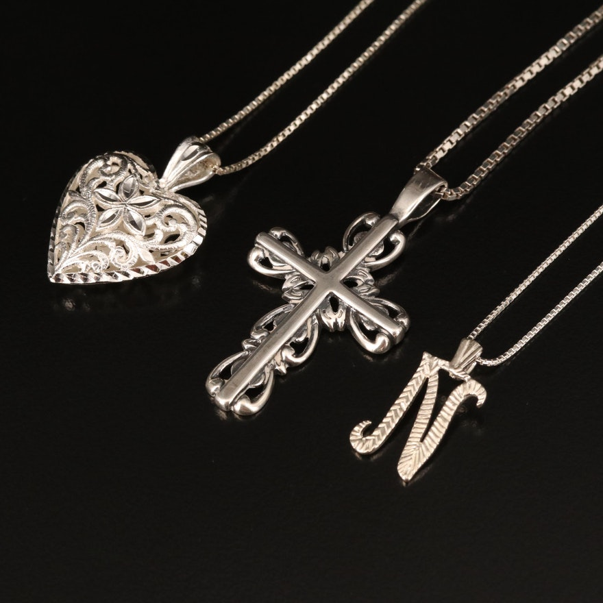 """Sterling Pendant Necklaces Including Puffed Heart, """"N"""" and Cross"""