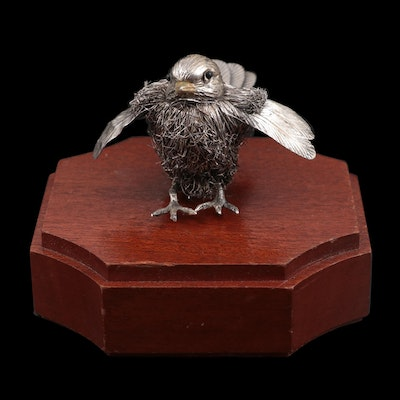 Buccellati Sterling Silver Sparrow Figurine with Wood Base