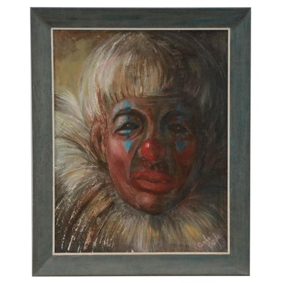 Carolyn Wright Clown Portrait Oil Painting, Late 20th Century
