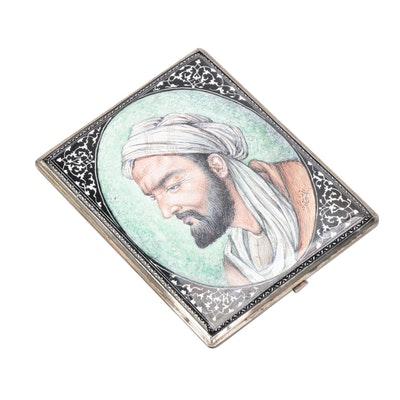 Arabesque 800 Silver and Enamel Portrait Cigarette Case