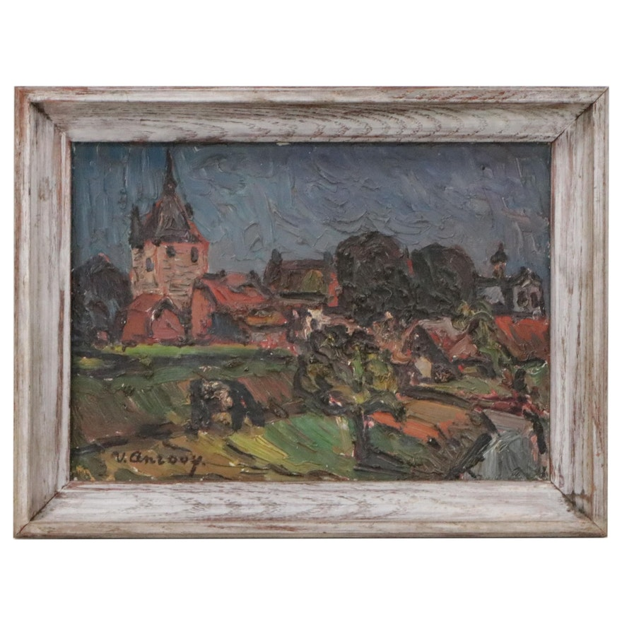 Jan Van Anrooy Impressionist Landscape Oil Painting, 20th Century