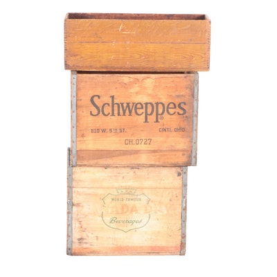 Pepsi-Cola, Schweppes and Canada Dry Wooden Bottle Crates, Mid-20th C