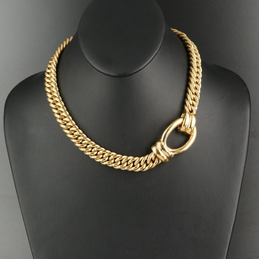 18K Wide Curb Chain Necklace