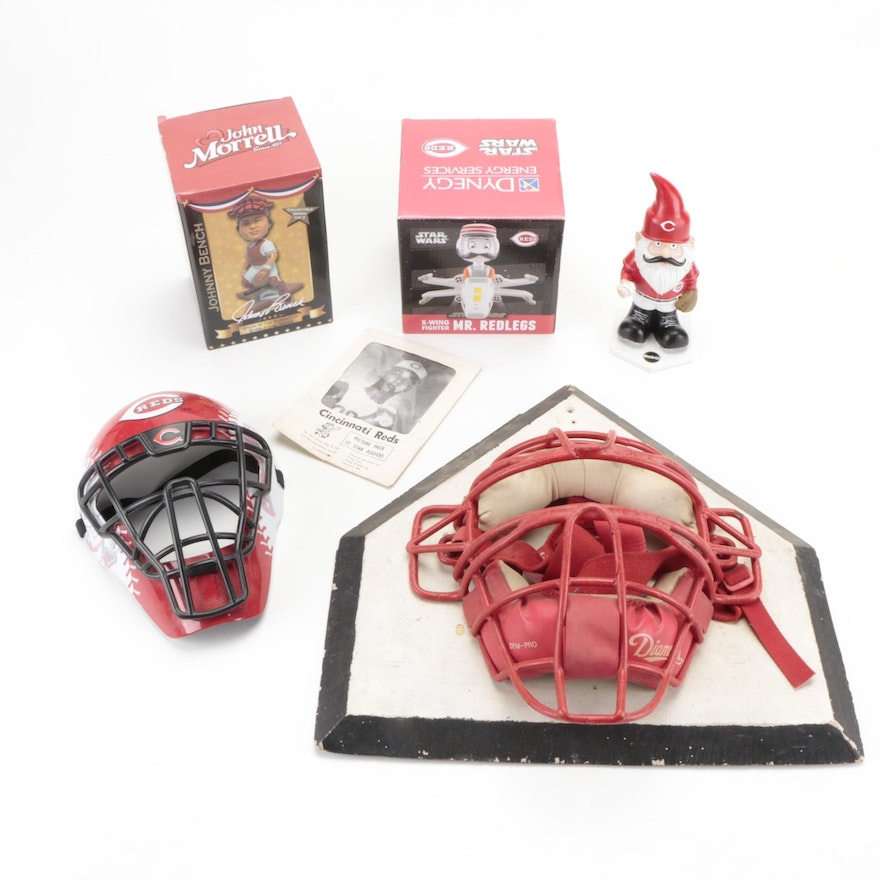 1960s Cincinnati Reds Picture Pack, Catcher's Masks, and Bobblehead Dolls