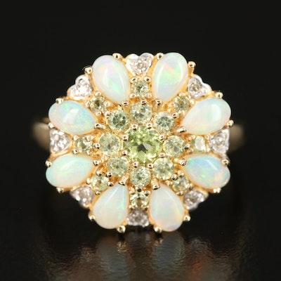 14K Opal, Peridot and Diamond Ring