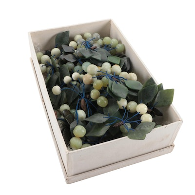 Chinese Carved Serpentine and Aventurine Grapes and Leaves