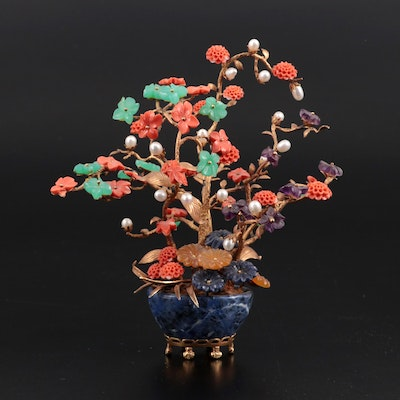 Chinese 14K Gold, Coral, Amethyst and Semi-Precious Gemstone Tree, Early 20th C.