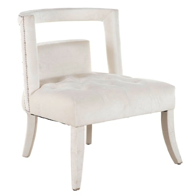 Contemporary Fully-Upholstered and Chrome-Tacked Accent Chair