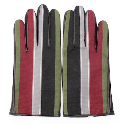 Men's Gucci Gloves in Lambskin and Multicolor Grosgrain with Cashmere Lining