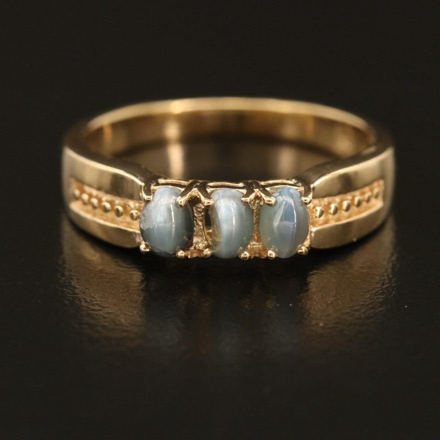 Sterling Cat's Eye Alexandrite Ring with Channel Set Milgrain Shoulders