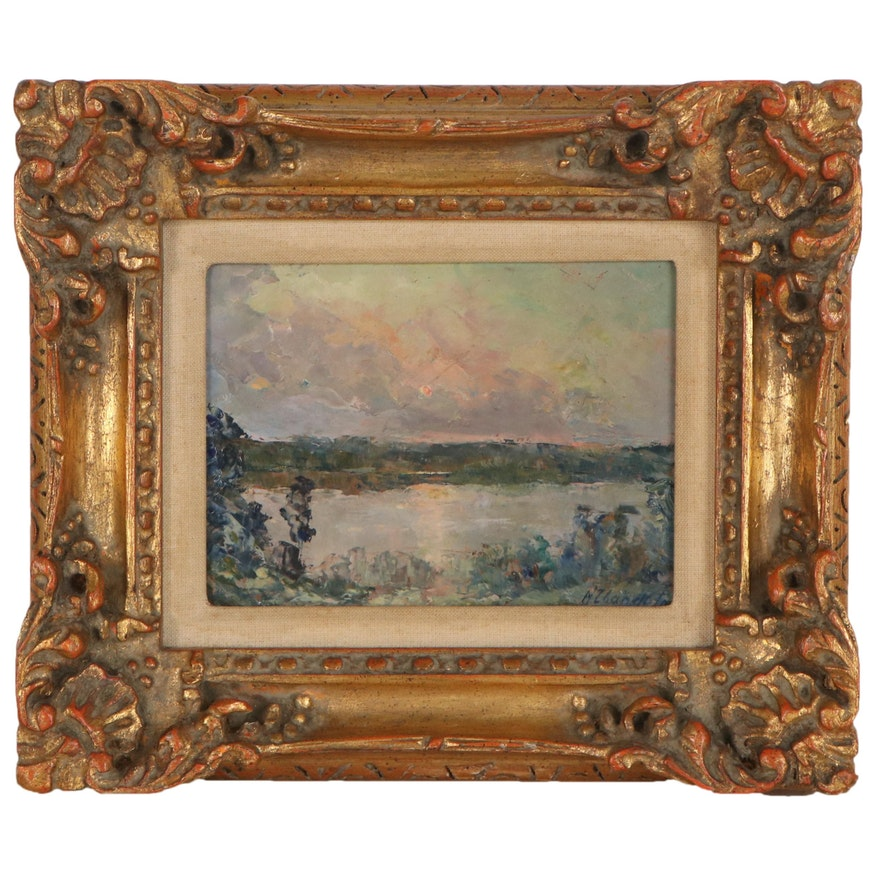 Nina Zbanduto Landscape Oil Painting, Early 20th Century
