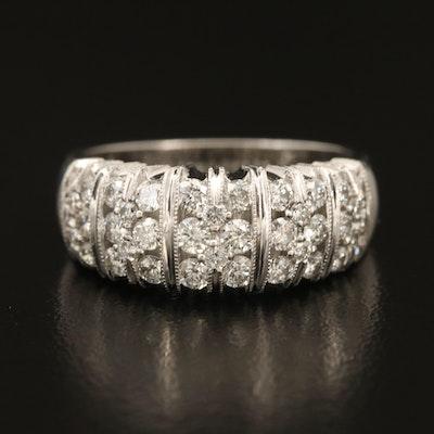 14K Diamond Fluted Ring with Milgrain Detail