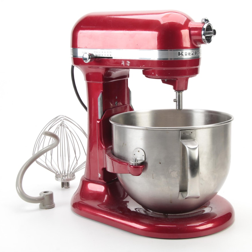 Red KitchenAid Artisan Stand Mixer and Accessories