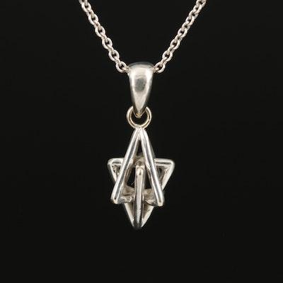 14K Interlocked Pyramid Pendant Necklace