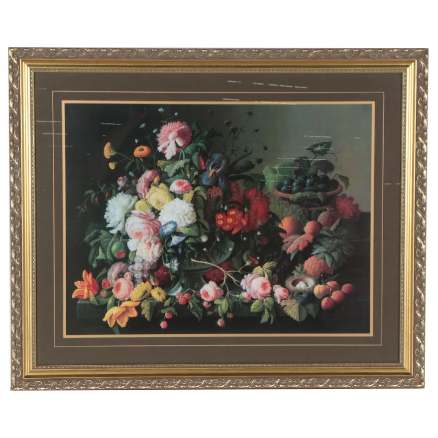 Still Life Offset Lithograph After Severin Roesen of Flowers, Late 20th Century