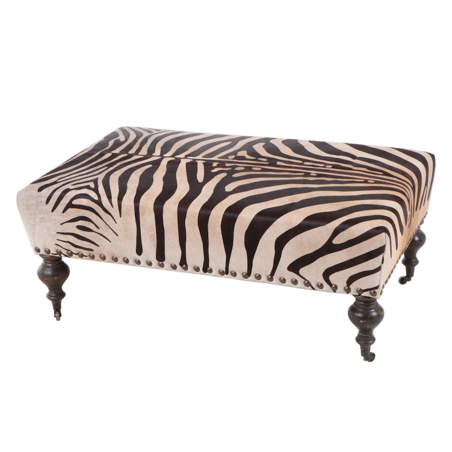 Contemporary Zebra Print Upholstered Cocktail Ottoman