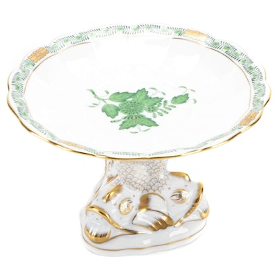 """Herend """"Chinese Bouquet Green"""" Porcelain Dolphin Base Compote"""