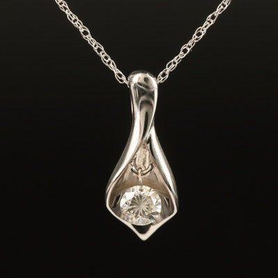 18K Diamond Solitaire Calla Lily Pendant Necklace