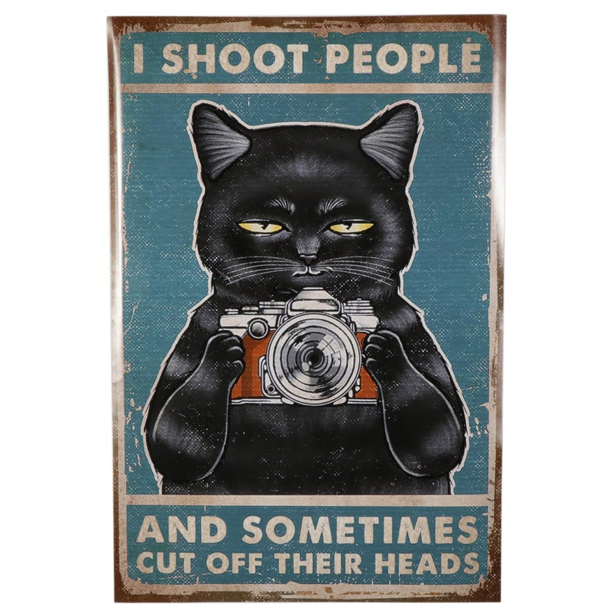 Black Cat With Camera Giclée Poster, 21st Century