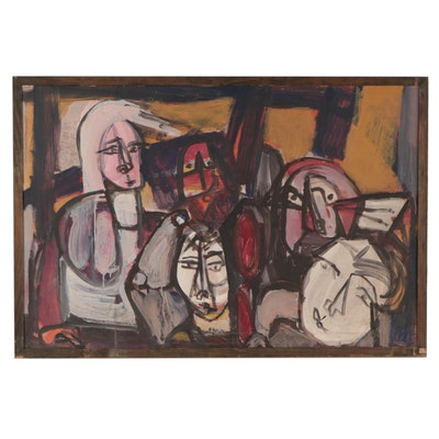 Bernice Fisher Stacy Abstract Oil Painting of Figures, Mid-Late 20th Century