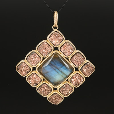 Italian 14K Labradorite and Druzy Square Pendant with Rope Accents