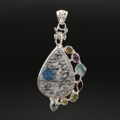 Sterling Scorpion Detail Pendant with K2 Stone, Topaz and Amethyst