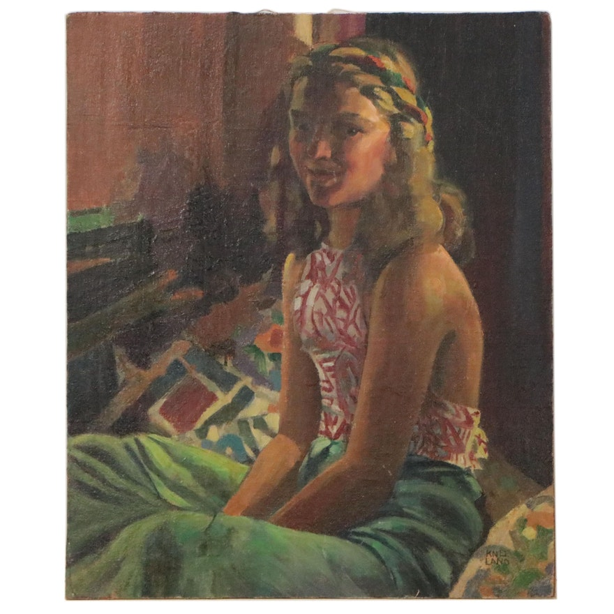 Roy Kneeland Figurative Oil Painting of Young Woman, Mid-Late 20th Century