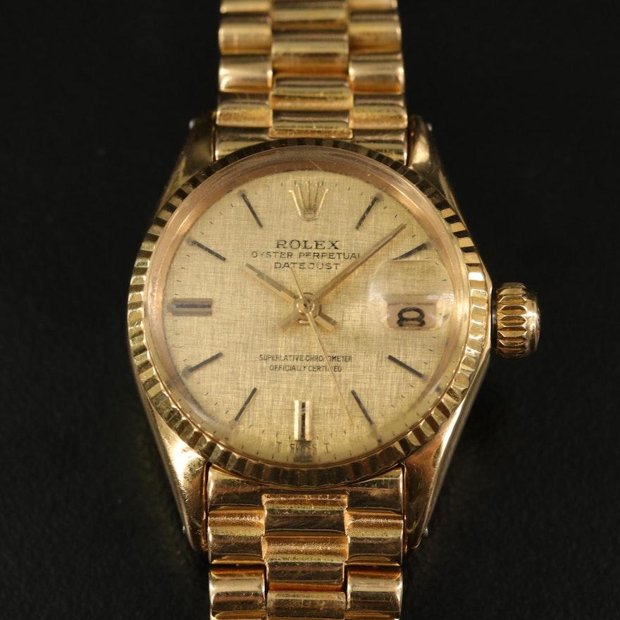 1969 Rolex Datejust President Linen Dial 18K Yellow Gold Wristwatch