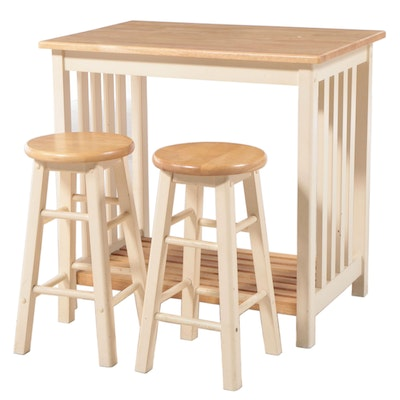 Contemporary White Painted Wooden Dinette Table with Stools