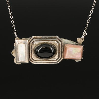 Sterling Black Onyx and Mother of Pearl Reversible Necklace