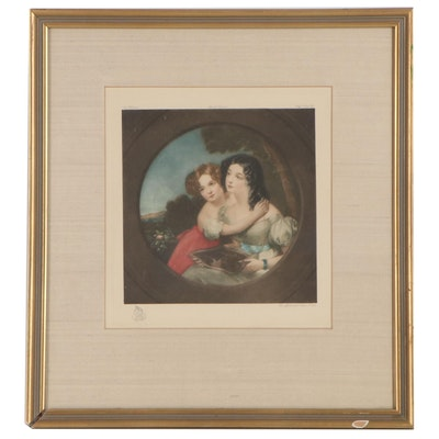 """Mezzotint After John Wood  """"Affectionate Sisters,"""" Late 19th-Early 20th Century"""
