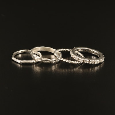 Sterling Stacking Bands Including Eternity and Cubic Zirconia