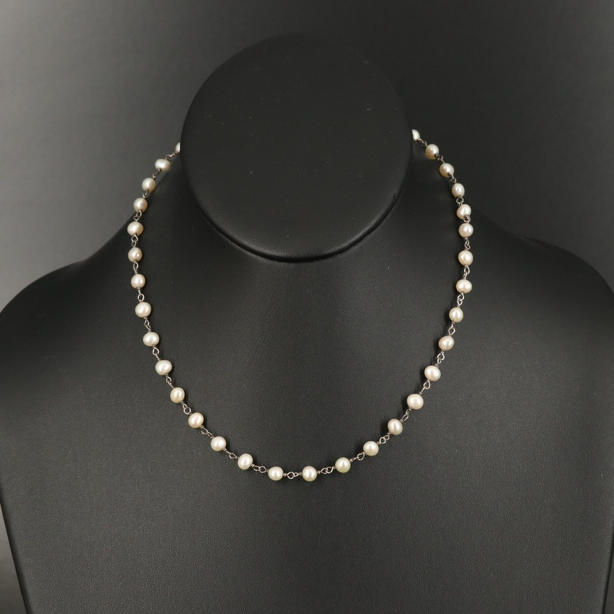 Sterling Pearl Station Necklace