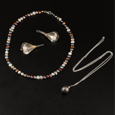 Pearl Necklaces and Ed Levin Sterling Silver Pearl Calla Lily Earrings