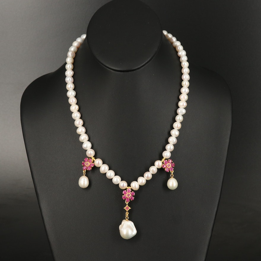 Sterling Pearl and Ruby Necklace