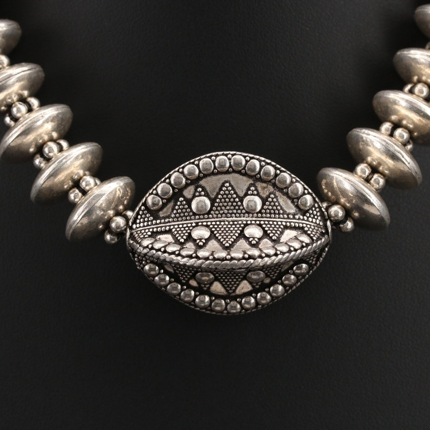Asian Thai Style Sterling Beaded Necklace